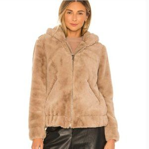 BLANK NYC Sand Stoner Faux Fur Hooded Soft & Cozy Women's Bomber Jacket